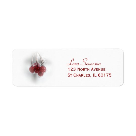 Red Frosty Winter Berries Return Address Return Address Label