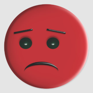 Red Frowny Face Round Sticker