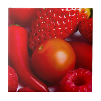 Red Fruit and Vegetables Tile/Trivet Small Square Tile