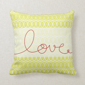Red Fun Loopy Love Writing Circles Lime Green Throw Pillow