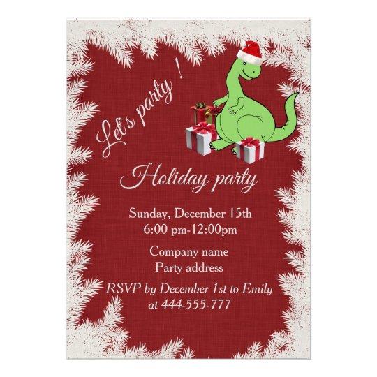 Red Funny Santa dinosaur Company holiday party 13 Cm X 18 Cm Invitation Card