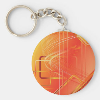 Red Futuristic Backdrop Basic Round Button Key Ring