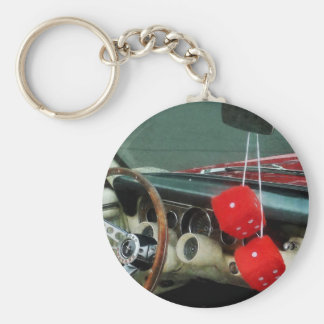 Red Fuzzy Dice in Convertible Key Ring