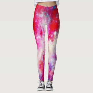 Red galaxy leggings