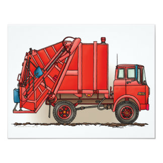 Red Garbage Truck 11 Cm X 14 Cm Invitation Card