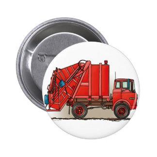 Red Garbage Truck 6 Cm Round Badge