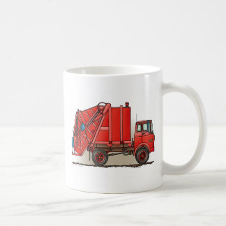 Red Garbage Truck Basic White Mug