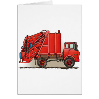 Red Garbage Truck Cards