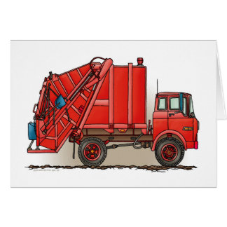 Red Garbage Truck Greeting Card