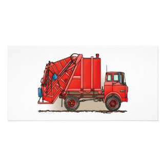 Red Garbage Truck Custom Photo Card