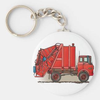 Red Garbage Truck Basic Round Button Key Ring