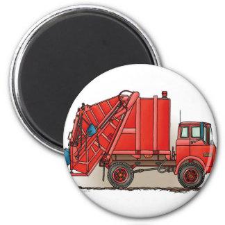 Red Garbage Truck 6 Cm Round Magnet