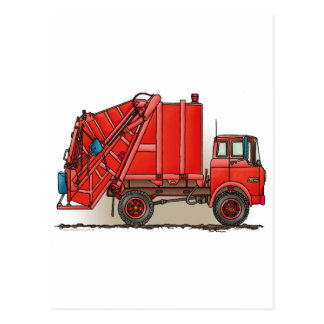 Red Garbage Truck Postcard