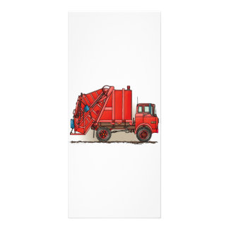 Red Garbage Truck Rack Card Template