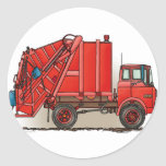 Red Garbage Truck Round Sticker
