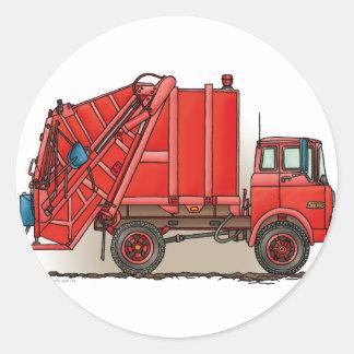 Red Garbage Truck Round Sticker