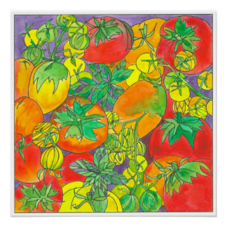 Red Garden Tomatoes Watercolor Painting