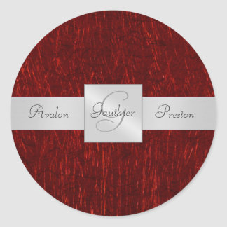Red Garnet Monogram Wedding Sticker