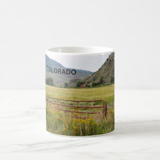 red gate by a prairie in Colorado Coffee Mug