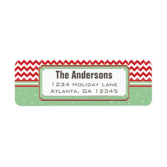 Red & Geen Chevron ZigZag Christmas Return Address Return Address Label