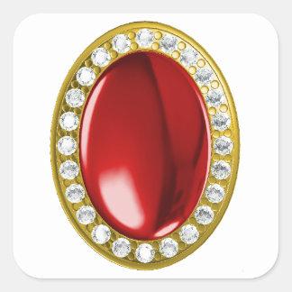 Red gemstone with diamonds square sticker