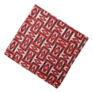 Red geometric abstraction pattern symetric theme 2 bandana