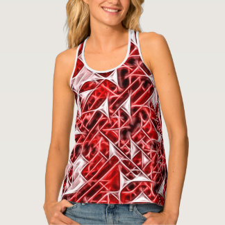 Red geometric figures pattern, triangles, squares singlet