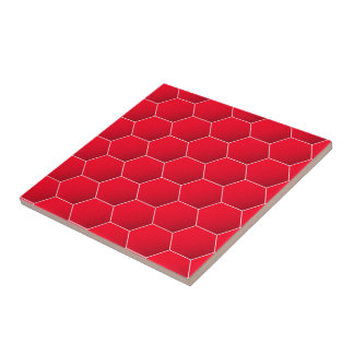Red geometric hexagon ceramic tile