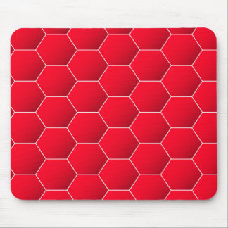 Red geometric hexagon mouse pad