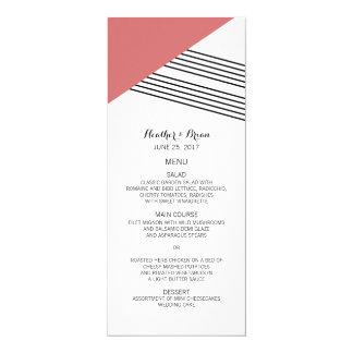 Red Geometric Stripe Wedding Menu 4x9.25 Paper Invitation Card