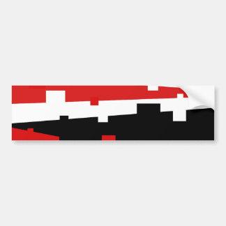 Red Geometric Striped Car Bumper Sticker