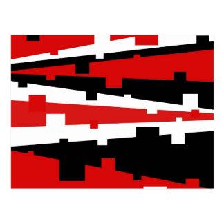 Red Geometric Striped Postcard