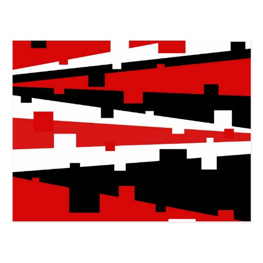 Red Geometric Striped Post Cards