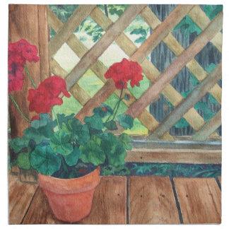 Red Geranium Cloth Napkin
