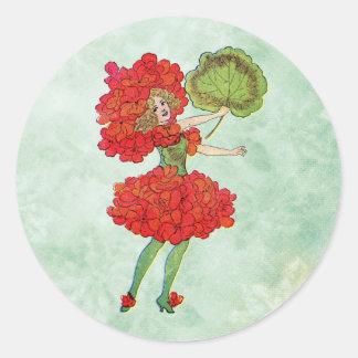 red geranium flower fairy classic round sticker