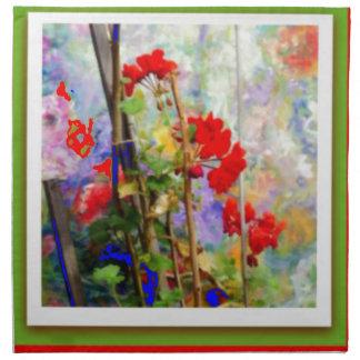 Red Geranium Flower Garden by  Sharles Cloth Napkin