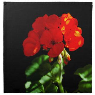 Red geranium flower napkin