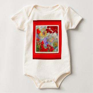 Red Geraniums Garden by Sharles Baby Bodysuit