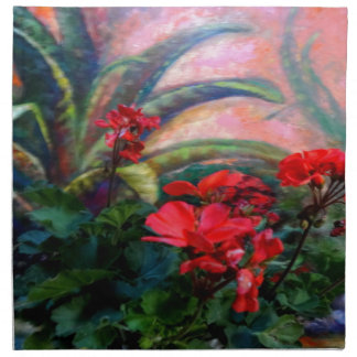 Red Geraniums Garden Still Life Painting Napkins