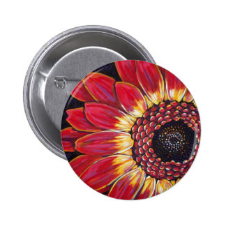 RED GERBER DAISY 6 CM ROUND BADGE
