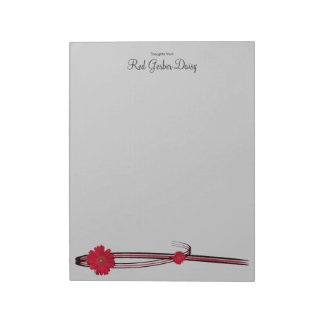 Red Gerber Daisy and Filigree Template Notepad