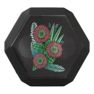Red Gerber Daisy Black Bluetooth Speaker