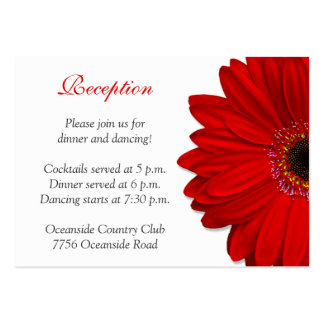 Red Gerber Daisy Wedding Reception Card Large Business Cards (Pack Of 100)