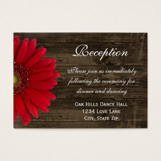Red Gerber Daisy Wedding Reception Direction Card