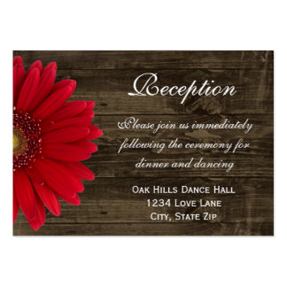 Red Gerber Daisy Wedding Reception Direction Card Business Card Templates