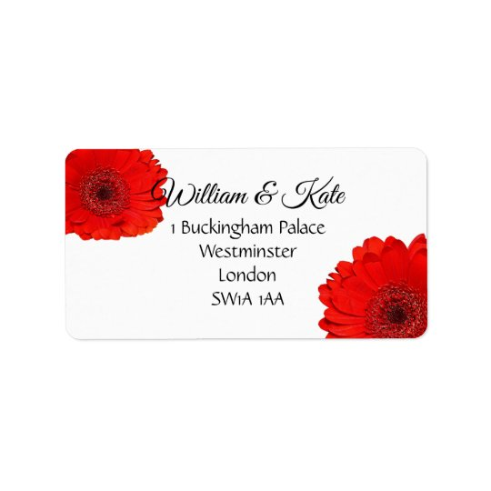 Red gerbera custom Wedding return address labels