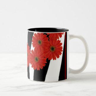 RED GERBERA DAISIES ON ZEBRA PRINT Two-Tone COFFEE MUG