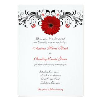 Red Gerbera Daisy Black Floral Wedding Invitation