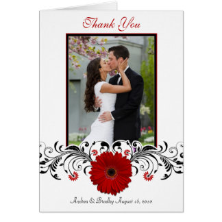 Red Gerbera Daisy Floral Photo Wedding Thank You Greeting Card