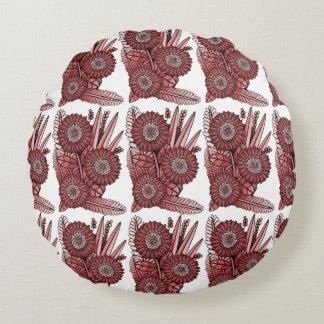 Red Gerbera Daisy Flower Bouquet Round Cushion
